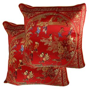 UXCELL Chinese Embroidery Courtyard Scene Pattern Cushion Throw Toss Pillow Cover 2 Pcs cover | pillow