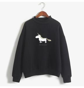 귀여운 여성 후드 여성 긴 소매 양털 터틀넥 스웨터 솔리드 가을 겨울 귀엽다 유니콘 인쇄 하라주쿠 캐주얼 풀오버