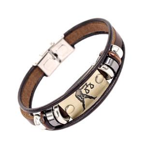 Venda quente de Moda 12 Constelação Cadeia Com Fivela De Aço Inoxidável Weave Leather Charm Cuff Bracelet Frete Grátis Por Atacado