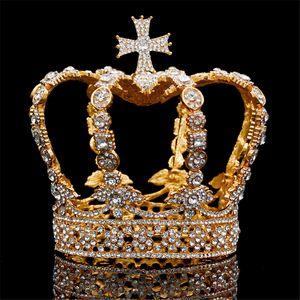 Männlich Kreuz Crown-barocke Braut Hochzeit Krone Königliche König Tiara Hochzeitskleid Geburtstagsparty Performance Zubehör Diadem S926