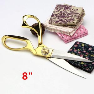 8 Inch ouro de aço inoxidável afiada Tailor Scissors Vestuário Tecido Dressmaking Scissors Churrasco Cut ajustável Kitchen Craft Scissors