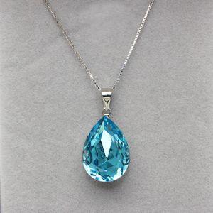 Nuevos diseños de collar regalo de la joyería hecha con elementos Swarovski Pendientes forma de gota de agua cristal moda con cadena de caja de plata esterlina 925