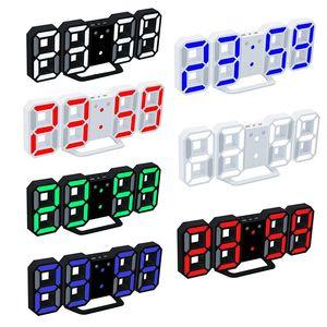 현대 디지털 벽시계 LED 테이블 시계 다채로운 시계 24 또는 12 시간 표시 알람 스누즈 알람 시계 홈 룸 장식 무료 배송