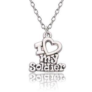 Vintage Silver Charm ожерелье I Love My Soldier ожерелье Сердце Ссылка цепи Army Wife ювелирные подарки