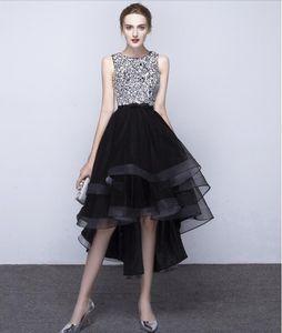 Yeni Siyah Abiye Noble Moda ilkbahar ve sonbaharda Önce Sonra Uzun Kısa El Yapımı Boncuk Kulübü Partisi Elbise HY088
