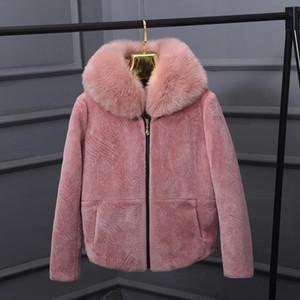 Winter Fuax Kragen Sehr gute Qualität Schaf-Pelz-Mantel-Winter-Frauen Luxus-Pelz-Pelz Dünne Frau gefälschte Jacke wj1765