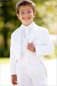Nuovo di stile da bianco abito da sposa abiti del ragazzo del bambino del ragazzo Abiti formali (Jacket + Pants + Tie + Vest) 608