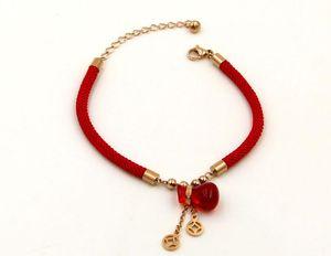 Año nuevo nacido suerte cuerda roja suerte rojo tesoro bolsa pulsera de acero de titanio rosa roja pulsera de calabaza