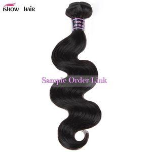 Ishow человеческих волос 8А необработанные бразильские волосы перуанский малайзийский тела прямые свободные глубокие воды вьющиеся ткет Dyeable один кусок как образец