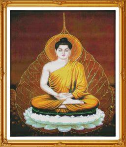 Sakyamuni Buddha decoración pinturas, bordados a mano punto de cruz bordado conjuntos contados impresión en lienzo DMC 14CT / 11CT