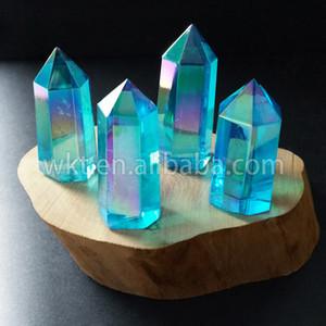 WT-G126 Aqua Aura Quartz Crystal عصا ، Aqua Aura عصا الصولجان ، نقطة كريستالية ، شفاء الكوارتز الأزرق