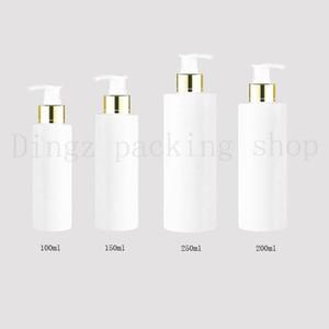 30pcs 100/150/200/250 ml voyage blanc lotion cosmétique pompe bouteilles en plastique, vide cosmétique emballage collier d'or pompe, pompe à bouteille de shampoing