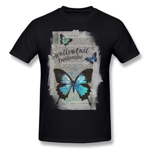 Özel erkek 100 Pamuk Swallowtail Tee Gömlek erkek O Boyun Lacivert Kısa Kollu T Shirt Artı Boyutu Tee-Shirt Baskılı