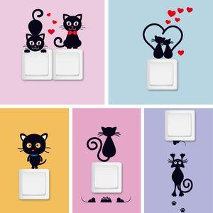 Diy creativo gato negro amor de dibujos animados interruptor extraíble pegatinas pvc etiqueta de la pared de vinilo calcomanía decoración para el hogar calcomanía pasta de socket