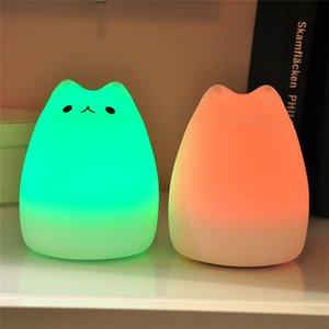 Silicone Macio Do Berçário Do Bebê Lâmpada LED Recarregável Luz Da Noite Quente Branco RGB Multi Color Porta USB Portátil de Alta Qualidade