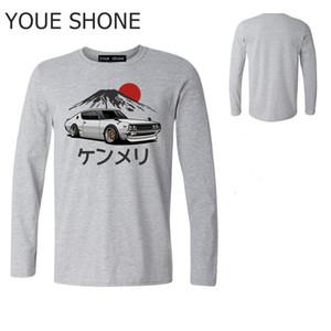 Camicia alla moda degli uomini di marca TShirt primavera puro cotone degli uomini di TShirt Auto Uomo grafica auto GTR Skyline T auto lungo manicotto Tees polo Topshirts