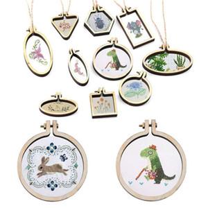 Holz Halskette Anhänger Mini Stickerei Kreis Charme Portable Kreuzstich Platz Fester Rahmen Ellipse Arts Crafts Geschenke 5 5hb bb