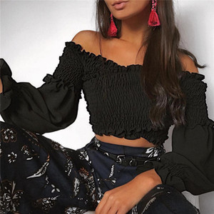 Горячая распродажа женской одежды плиссированные топы с открытыми плечами Летние пуловеры тройники Crop Tees с длинным рукавом сексуальные футболки