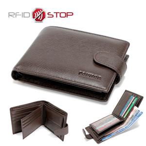 Большой емкости мужская кожаный бумажник невидимый крепление закрытие монета карман с держателем карты классический дизайн RFID двойные-черный и коричневый