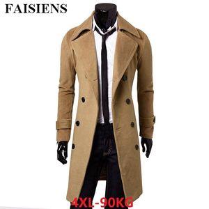 FAISIENS Herren Herbst Winter Casual Blends Jacken Plus Größe 4XL Günstige Business Dick Slim Fit Khaki Graben Mantel Lange Peacoat