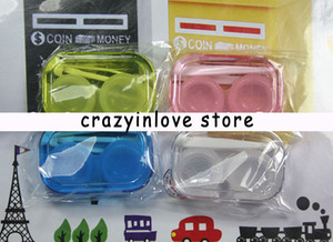 Hot!!wholesale Contact Lens Case best quality color contact transparent with colors contact lens cases 4 colors free shipping Portable suit
