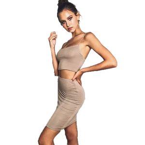 Ciysty Yeni Moda kadın Yaz Kılıf Bodycon Silm Etekler Seksi Kız Kırpma Üst Kadınlar Setleri