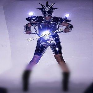 BC21 Ballroom dance dj hombres viste ropa espectáculo de etapa llevó trajes luminosos luz bailarina traje máscara led hombro chaleco robot espejo de rendimiento