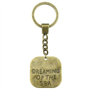6 Pieces Key Chain Women Key Rings Couple Keychain For Keys Big Size One Sided Dreaming Of The Sea 30x30mm