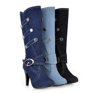 GOXPACER Outono Botas Casuais Mulheres Botas Denim De Salto Alto Fina Dedo Do Pé Redondo Curto Plush Moda Feminina Sapatos de Plataforma de Metal Fivelas