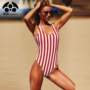 QIANG YI 2018 Kadın Mayo Bir Adet Mayo Kadın Şerit Bikini Şınav Tulum Yelek Mayo Plaj Parçası Yaz