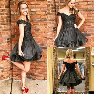 Tier Ruffles Skirt Little Black Short Homecoming Dress 2019 Off Shoulder Beadings Cocktail Prom Gowns Vendita online