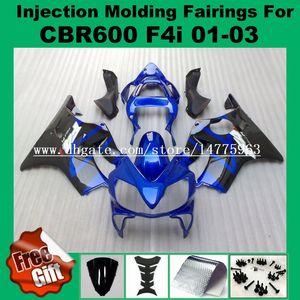 Carénages d'injection de corps noir bleu Pour F4i HONDA CBR600F4i CBR600RR 01 02 03 CBR 600 F4i CBR 600F4i 2001 2002 2003 Kits de carénage # 2I61-22