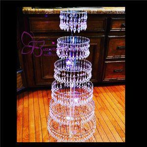 Soportes de pastel de cristal de araña de 7 niveles Torre de la magdalena Stand de bodas Torta de la fiesta de boda / centros de mesa de boda
