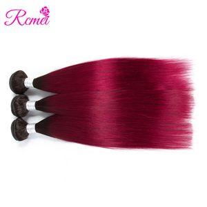Rcmei Pre-colored 2 Tonos Ombre Hair 1B / Borgoña Straight Hair Weaving 3 Bundles Deals Brazilian Straight Extensiones de cabello humano