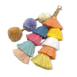 UKEN 보헤미안 수제 가방 펜던트 액세서리 여성 여러 가지 빛깔의면 술 키 체인 패션 보석 매력 키 체인