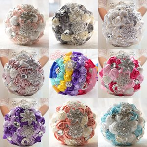 2018 New Wedding Bouquets Pearl Rhinestone Artificial Satin Roses Posy Brooch Bouquet for Bridal Bridesmaid Custom Made CPA1543