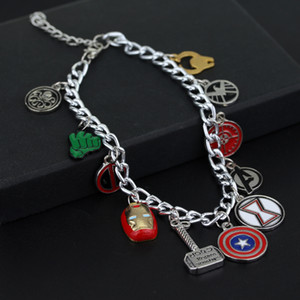 Marvel The Avengers Supereroe Captain America Iron Man Deadpool Thor Wonder Bracciale donna Charm per donne-40 5 pezzi