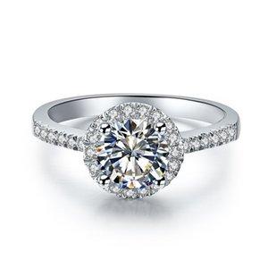D/F цвет топ белый круглый бриллиант огранки Moissanite бриллиантовое кольцо 9K,14K,18K белое золото круглый дизайн Королева кольцо с сертификатом