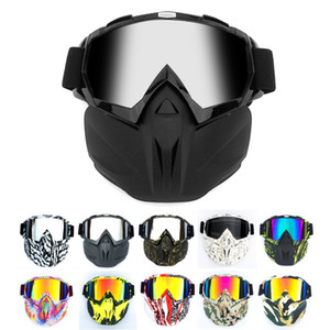 Modular Mask Flexible Goggles Glasses Anti Dust Sand Wind for Open Face Motorcycle Half Helmet or Vintage Helmets Clear Grey