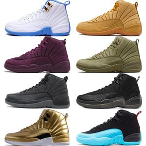 12 12 s erkek basketbol ayakkabıları Michigan Bulls Koleji Donanma Vachetta Tan Koyu Gri Bordo Fransız Mavi erkekler Spor sneakers eğitmenler tasarımcı