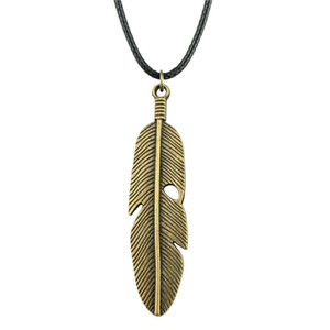 WYSIWYG 5 Pieces Leather Chain Necklaces Pendants Choker Collar Male Necklace Fashion Feather 59x16mm N6-A11572