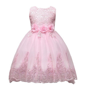 Cute Pink Lace Little Kids Infants Flower Girl Dresses Princess Jewel Neck Tulle Applique Floral Short Formal Wears for Weddings MC0280