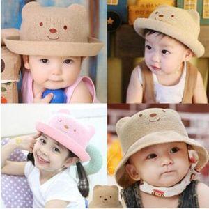 cappelli estivi per la spiaggia per bambini all'aperto cappelli per orsi bambini berretto di paglia per bambini nuovi cappelli da sole per bambini Kid Bear Secchio cappello 5 colori