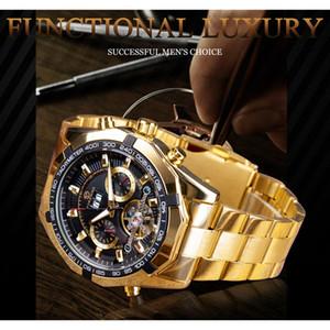 Forsining Herren mechanische Uhr Top-Marke Luxus goldene Armband Business Watch Kalender Display schwarzes Zifferblatt Tourbillion Design