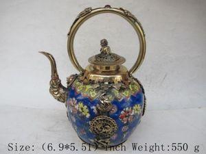Les anciens lions de bronze chinois au Tibet théière en céramique opale longue
