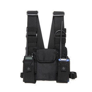 Rádio Peito Nylon Harness Chest Frente Pacote Bolsa Holster Vest Rig Carry Cade para Baofeng UV-5R UV-82 888S TYT Wouxun Motorola Walkie Talkie