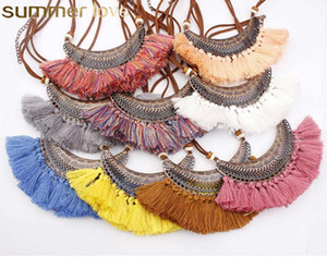 New Boho Crescent Pendant Colar Gargantilha Tassel por Mulheres étnico colorido de veludo colar de moda jóias por atacado do vintage