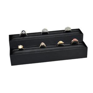 New Black PU Ring Storage Rack High and Low Wooden Horizontal Ring Bar Slot Holder Showcase 2Pcs Ring Display Organizer Exhibition Stand Bar