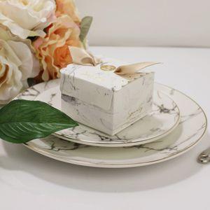 새로운 뜨거운 Marbling 결혼식 사탕 상자 리본 서류상 선물 상자를 가진 창조적 인 호의 상자 아기 베비 샤워 장식을 꾸미십시오
