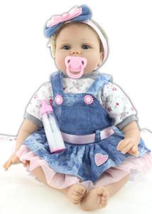 22 pouces Reborn Baby Doll Lifelike nouveau-né princesse fille de vrais bébés Looking vivant Boneca d'anniversaire d'enfants Cadeau de Noël